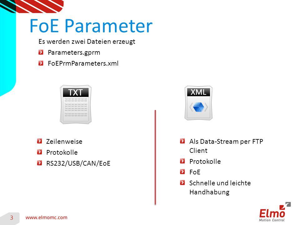 3 Es werden zwei Dateien erzeugt Parameters.gprm FoEPrmParameters.xml Zeilenweise Protokolle RS232/USB/CAN/EoE Als Data-Stream per FTP Client Protokol