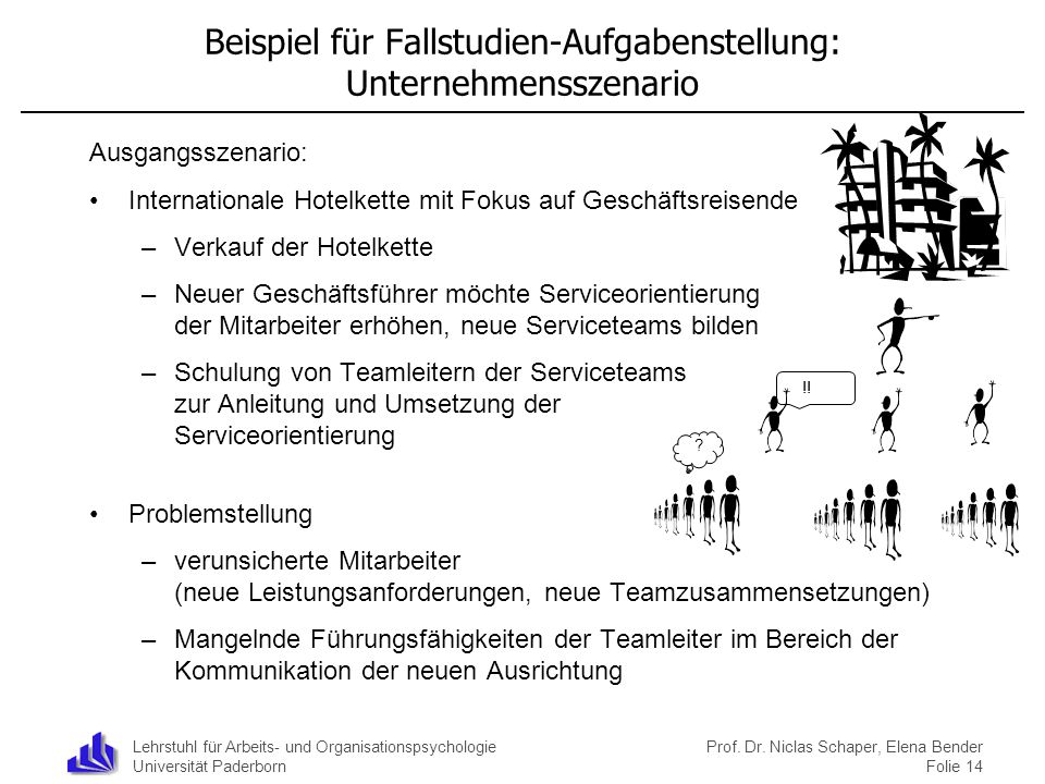 Lehrstuhl für Arbeits- und Organisationspsychologie Universität Paderborn Beispiel für Fallstudien-Aufgabenstellung: Unternehmensszenario Ausgangsszen