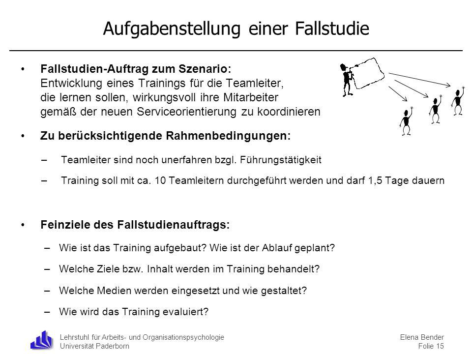 Lehrstuhl für Arbeits- und Organisationspsychologie Universität Paderborn Aufgabenstellung einer Fallstudie Fallstudien-Auftrag zum Szenario: Entwickl