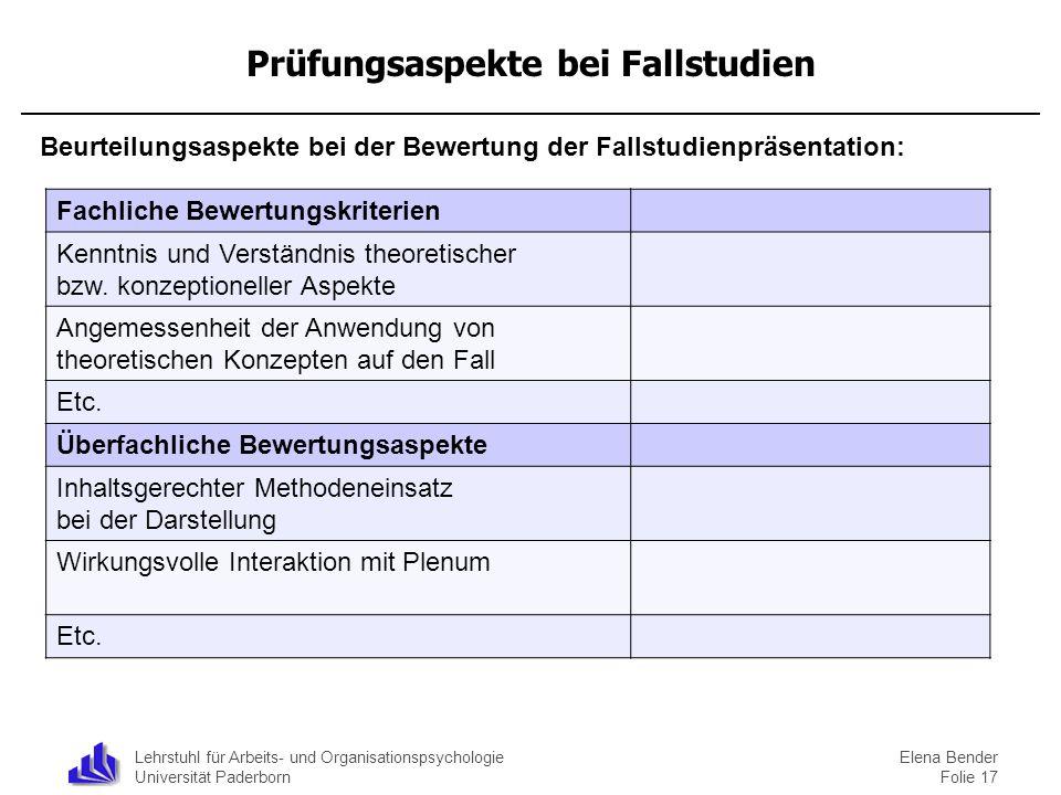 Lehrstuhl für Arbeits- und Organisationspsychologie Universität Paderborn Prüfungsaspekte bei Fallstudien Beurteilungsaspekte bei der Bewertung der Fa