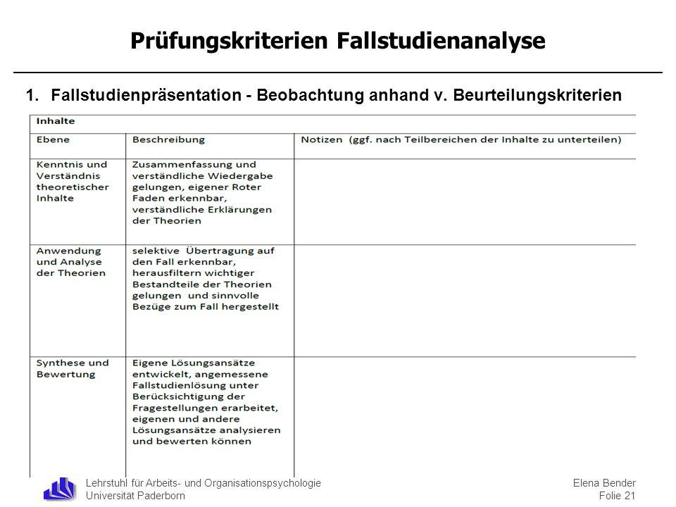 Lehrstuhl für Arbeits- und Organisationspsychologie Universität Paderborn Prüfungskriterien Fallstudienanalyse 1.Fallstudienpräsentation - Beobachtung