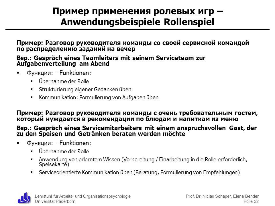 Lehrstuhl für Arbeits- und Organisationspsychologie Universität Paderborn Prof. Dr. Niclas Schaper, Elena Bender Folie 32 Пример применения ролевых иг
