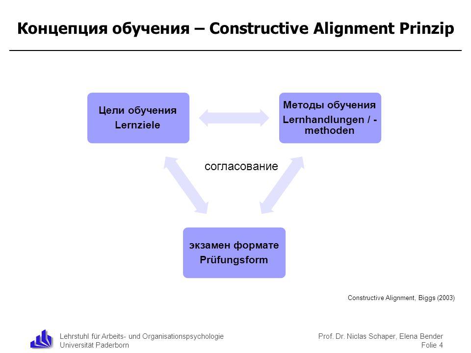 Lehrstuhl für Arbeits- und Organisationspsychologie Universität Paderborn Концепция обучения – Constructive Alignment Prinzip Цели обучения Lernziele
