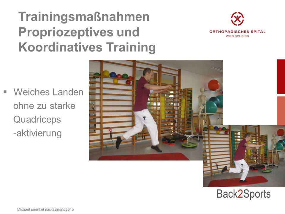 Trainingsmaßnahmen Propriozeptives und Koordinatives Training  Weiches Landen ohne zu starke Quadriceps -aktivierung Michael Enenkel Back2Sports 2015