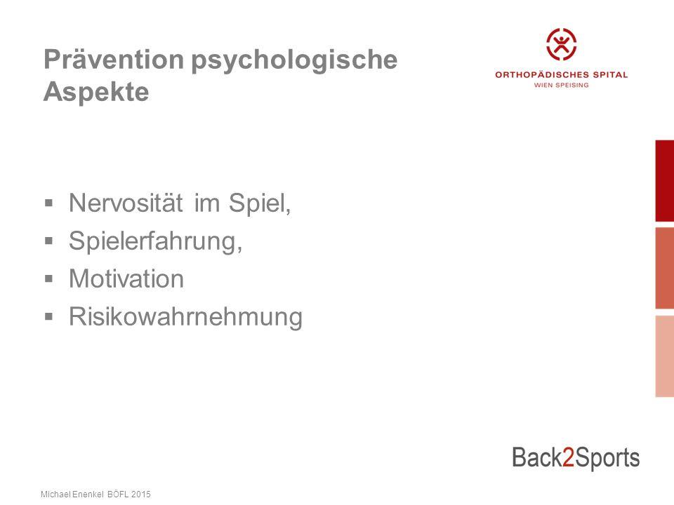Prävention psychologische Aspekte  Nervosität im Spiel,  Spielerfahrung,  Motivation  Risikowahrnehmung Michael Enenkel BÖFL 2015