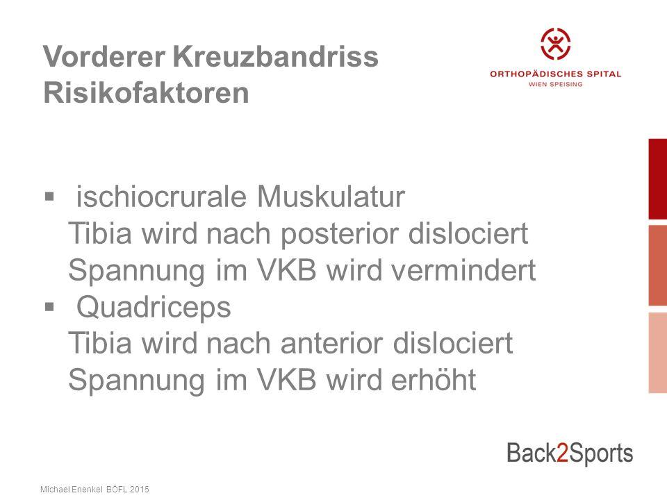 Vorderer Kreuzbandriss Risikofaktoren  ischiocrurale Muskulatur Tibia wird nach posterior dislociert Spannung im VKB wird vermindert  Quadriceps Tibia wird nach anterior dislociert Spannung im VKB wird erhöht Michael Enenkel BÖFL 2015
