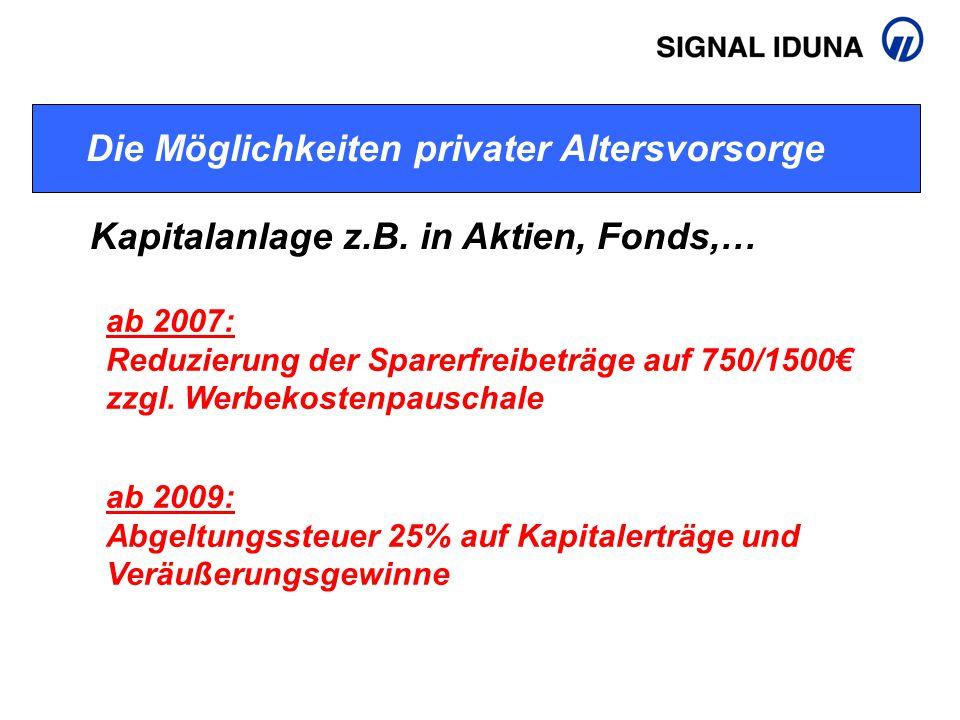 Die Möglichkeiten privater Altersvorsorge Kapitalanlage z.B. in Aktien, Fonds,… ab 2007: Reduzierung der Sparerfreibeträge auf 750/1500€ zzgl. Werbeko