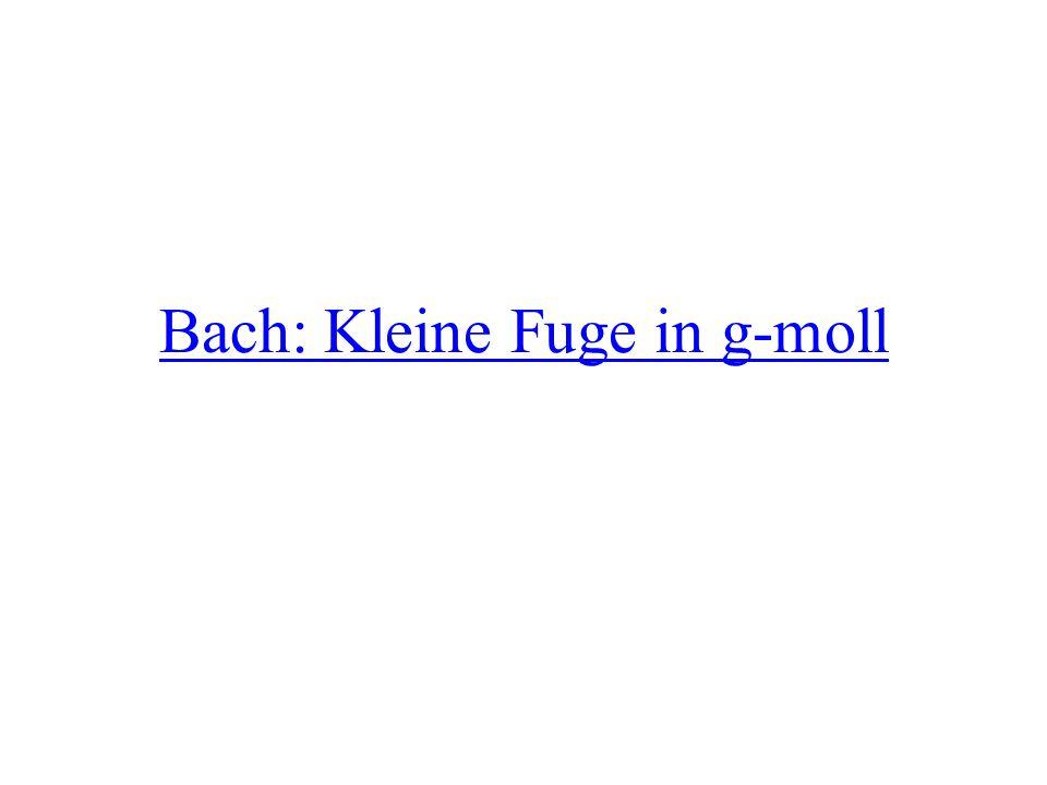 Das war die Kleine Fuge in g- moll (Little fugue in g-minor) von Johann Sebastian Bach Bach ist der berühmteste deutsche Komponist des Barock – berühmt = famous Viele Musiker denken, dass Bach der beste deutsche Komponist ist – denken = to think In einer Fuge wird ein musikalisches Thema in den verschiedenen Stimmen imitiert – wird = is being – verschieden = different – die Stimme = voice, voice register (e.g., soprano, tenor)