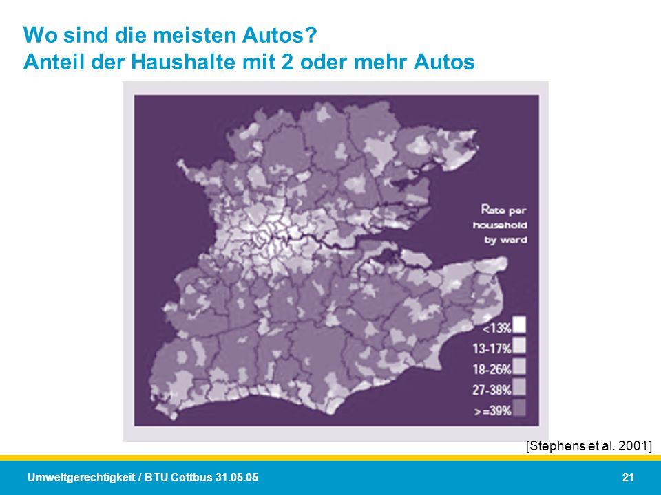 Umweltgerechtigkeit / BTU Cottbus 31.05.05 21 Wo sind die meisten Autos? Anteil der Haushalte mit 2 oder mehr Autos [Stephens et al. 2001]