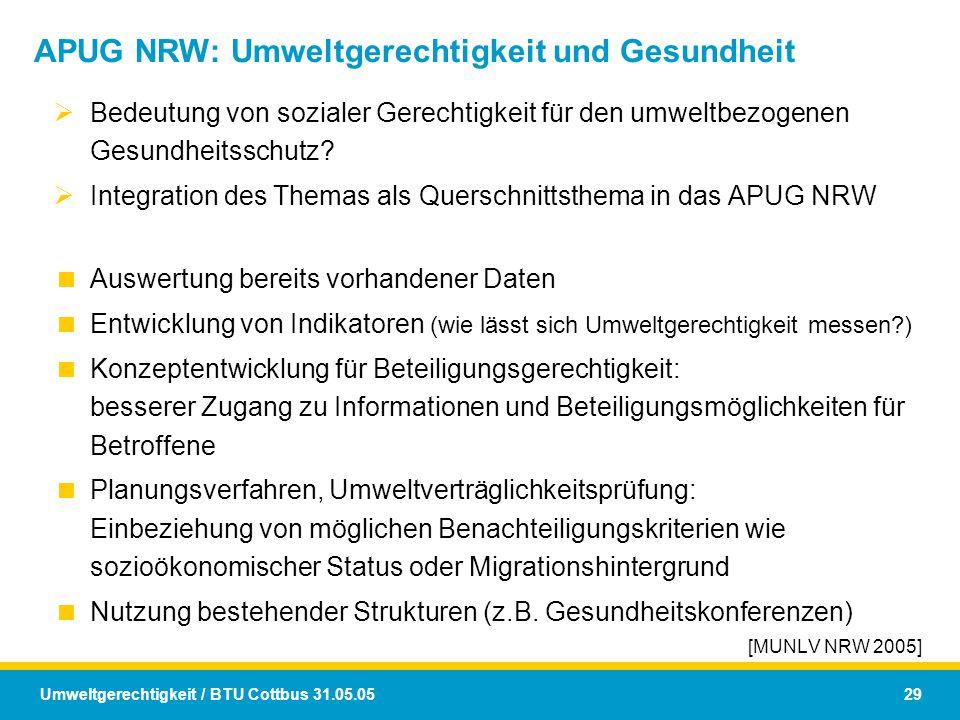 Umweltgerechtigkeit / BTU Cottbus 31.05.05 29 APUG NRW: Umweltgerechtigkeit und Gesundheit  Bedeutung von sozialer Gerechtigkeit für den umweltbezoge