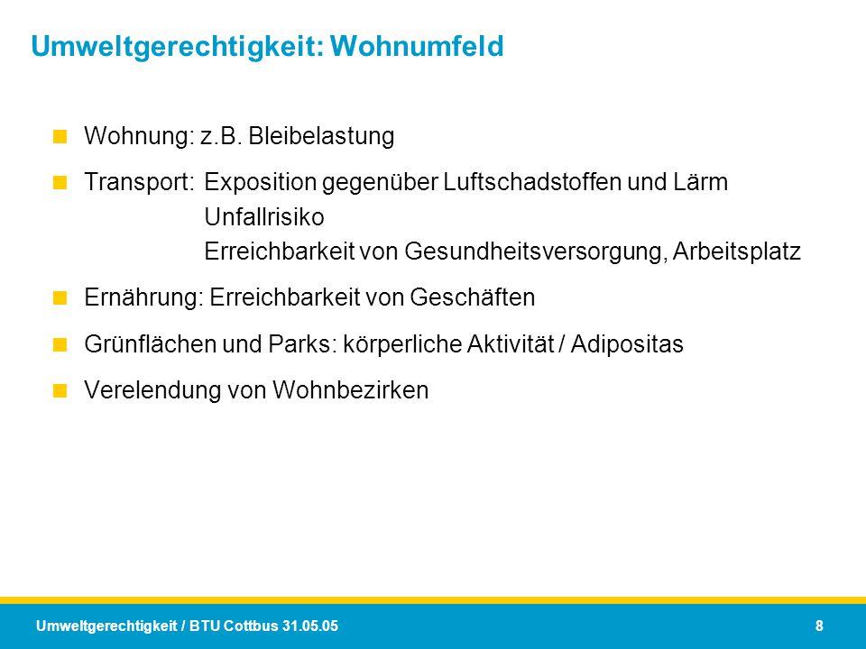 Umweltgerechtigkeit / BTU Cottbus 31.05.05 8 Umweltgerechtigkeit: Wohnumfeld  Wohnung: z.B. Bleibelastung  Transport:Exposition gegenüber Luftschads