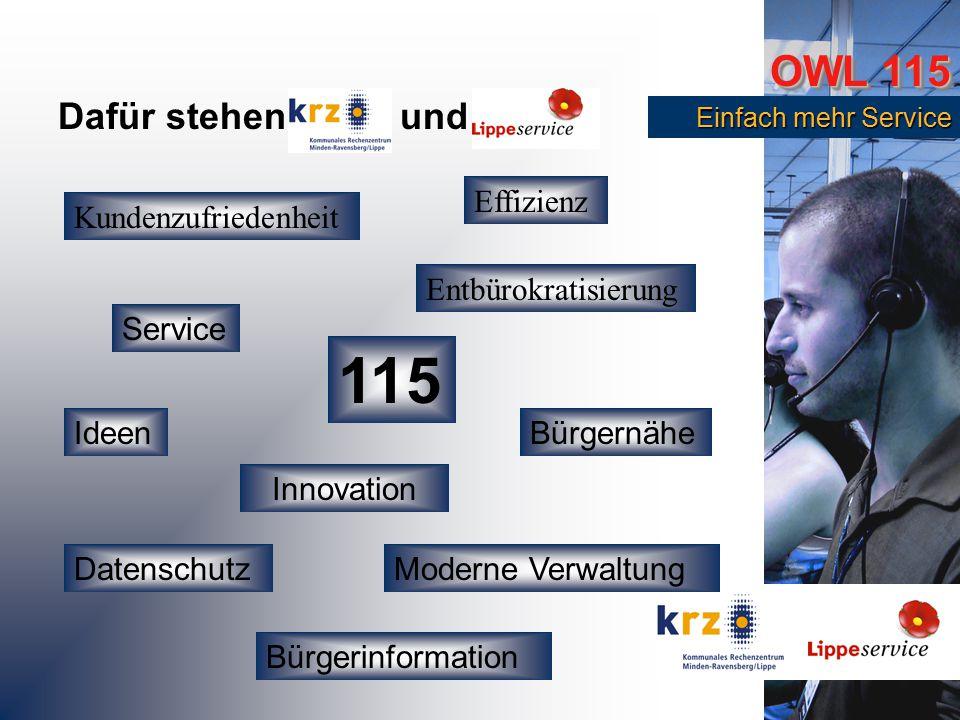 OWL 115 Einfach mehr Service Einfach mehr Service Kundenzufriedenheit Ideen Bürgerinformation Entbürokratisierung Moderne Verwaltung Service Effizienz Bürgernähe Dafür stehen und Datenschutz Innovation 115