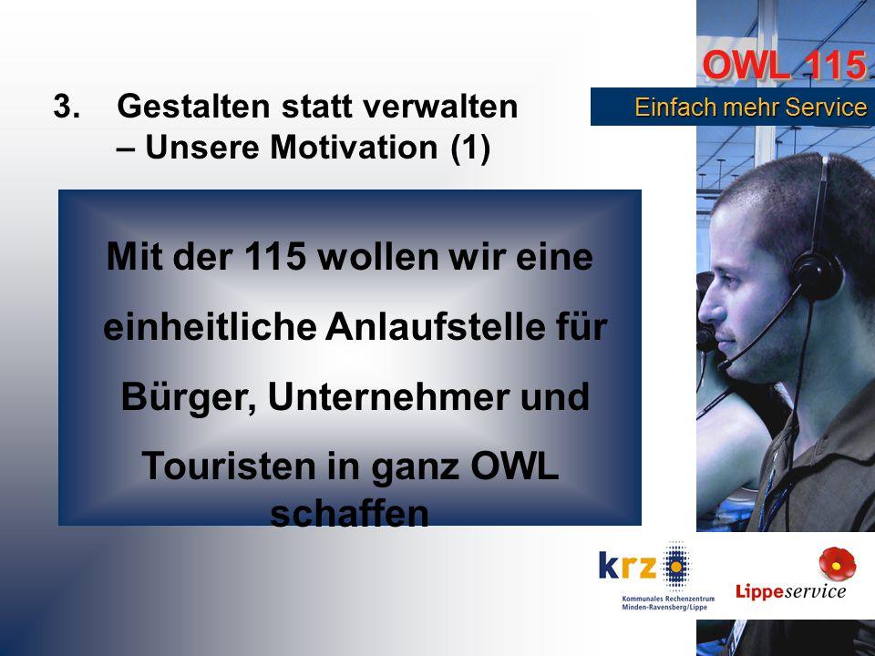 OWL 115 Einfach mehr Service Einfach mehr Service 3.Gestalten statt verwalten – Unsere Motivation (1) Mit der 115 wollen wir eine einheitliche Anlaufstelle für Bürger, Unternehmer und Touristen in ganz OWL schaffen
