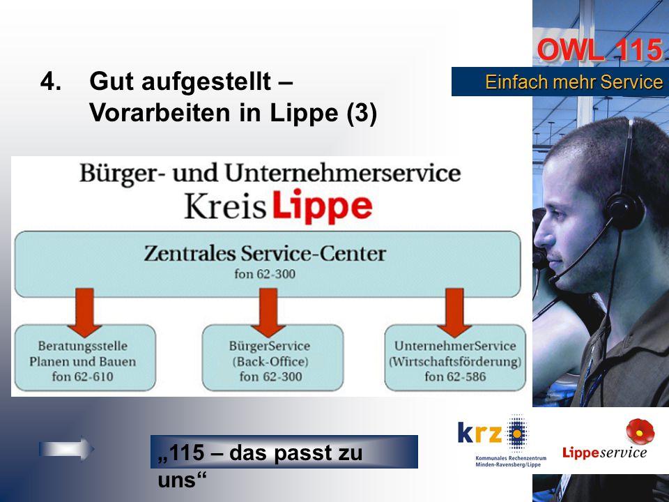 """OWL 115 Einfach mehr Service Einfach mehr Service 4.Gut aufgestellt – Vorarbeiten in Lippe (3) """"115 – das passt zu uns"""