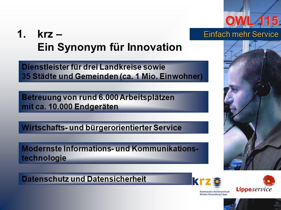 OWL 115 Einfach mehr Service Einfach mehr Service 1.krz – Ein Synonym für Innovation Dienstleister für drei Landkreise sowie 35 Städte und Gemeinden (ca.
