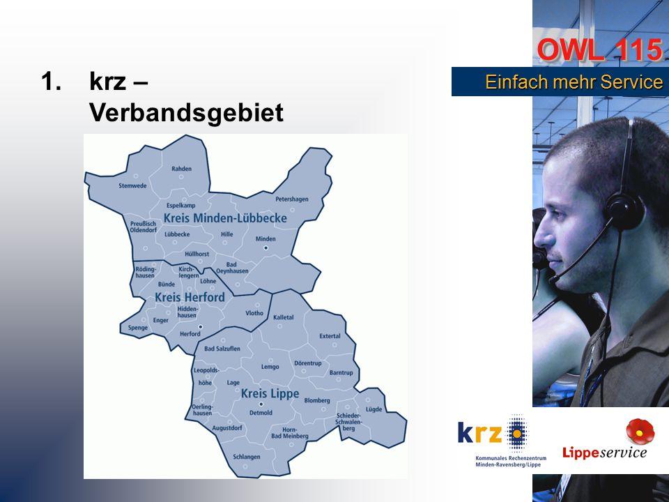 OWL 115 Einfach mehr Service Einfach mehr Service 1.krz – Technologisches Umfeld Weitverkehrsnetz (OWL-Netz) für die gesamte Region Gemeinsamer TESTA-Betrieb für ganz OWL Integration von TK-Dienstleistungen ins WAN (VoIP-Cisco-Technologie) Erfahrung im Einsatz von Ticketing-Systemen Video-Conferencing OWL-Portal als Basis für die Zusammenarbeit in OWL Erstes BSI-zertifiziertes kommunlaes Rechenzentrum als Betreiber (ISO 27001)