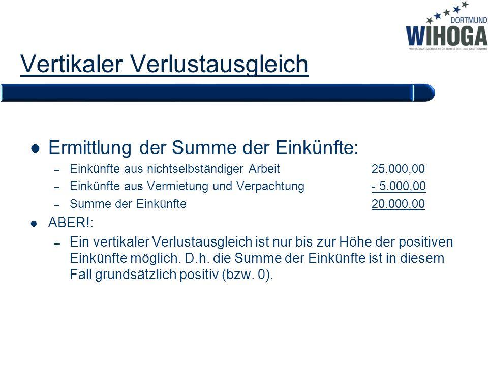 Vertikaler Verlustausgleich Ermittlung der Summe der Einkünfte: – Einkünfte aus nichtselbständiger Arbeit25.000,00 – Einkünfte aus Vermietung und Verp