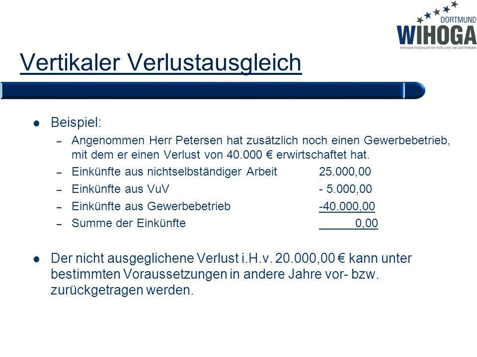Vertikaler Verlustausgleich Beispiel: – Angenommen Herr Petersen hat zusätzlich noch einen Gewerbebetrieb, mit dem er einen Verlust von 40.000 € erwir