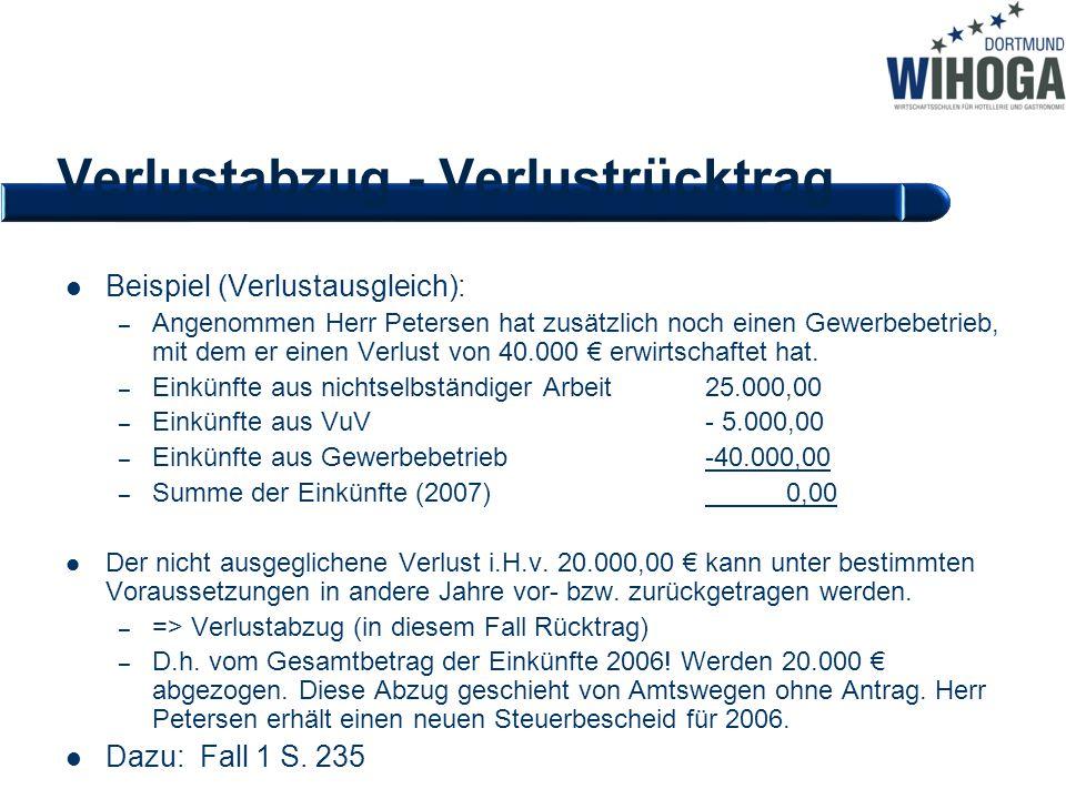 Verlustabzug - Verlustrücktrag Beispiel (Verlustausgleich): – Angenommen Herr Petersen hat zusätzlich noch einen Gewerbebetrieb, mit dem er einen Verl
