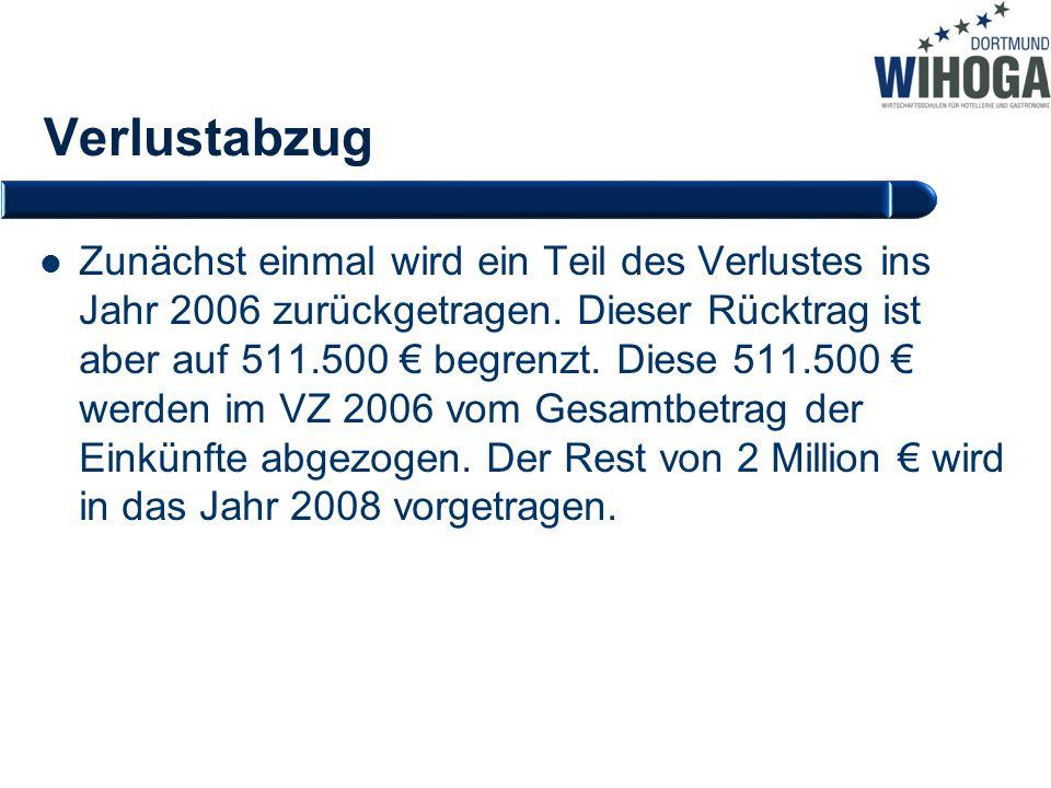 Verlustabzug Zunächst einmal wird ein Teil des Verlustes ins Jahr 2006 zurückgetragen. Dieser Rücktrag ist aber auf 511.500 € begrenzt. Diese 511.500