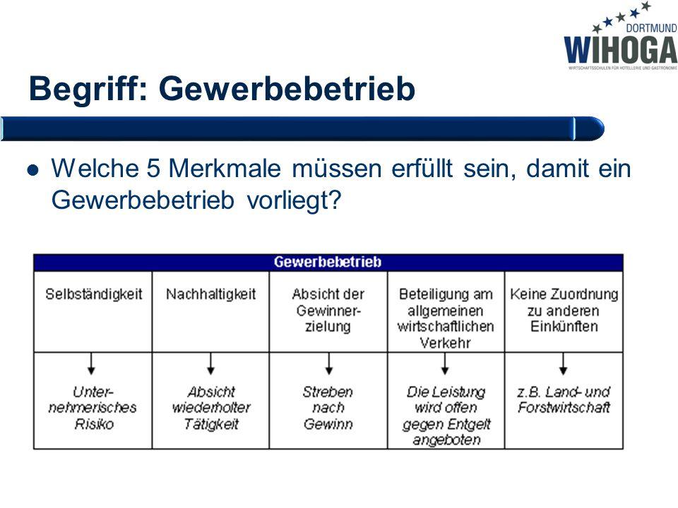 Begriff: Gewerbebetrieb Welche 5 Merkmale müssen erfüllt sein, damit ein Gewerbebetrieb vorliegt?