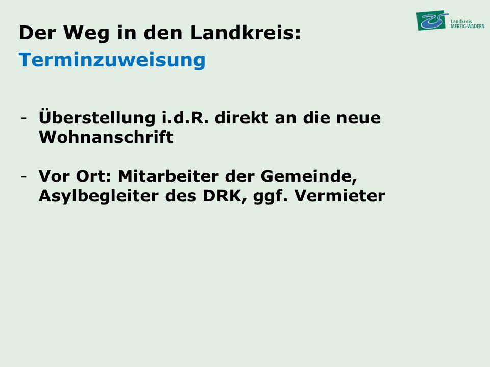 Der Weg in den Landkreis: Terminzuweisung -Überstellung i.d.R. direkt an die neue Wohnanschrift -Vor Ort: Mitarbeiter der Gemeinde, Asylbegleiter des
