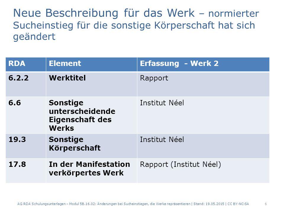 Neue Beschreibung für das Werk – normierter Sucheinstieg für die sonstige Körperschaft hat sich geändert AG RDA Schulungsunterlagen – Modul 5B.16.02: