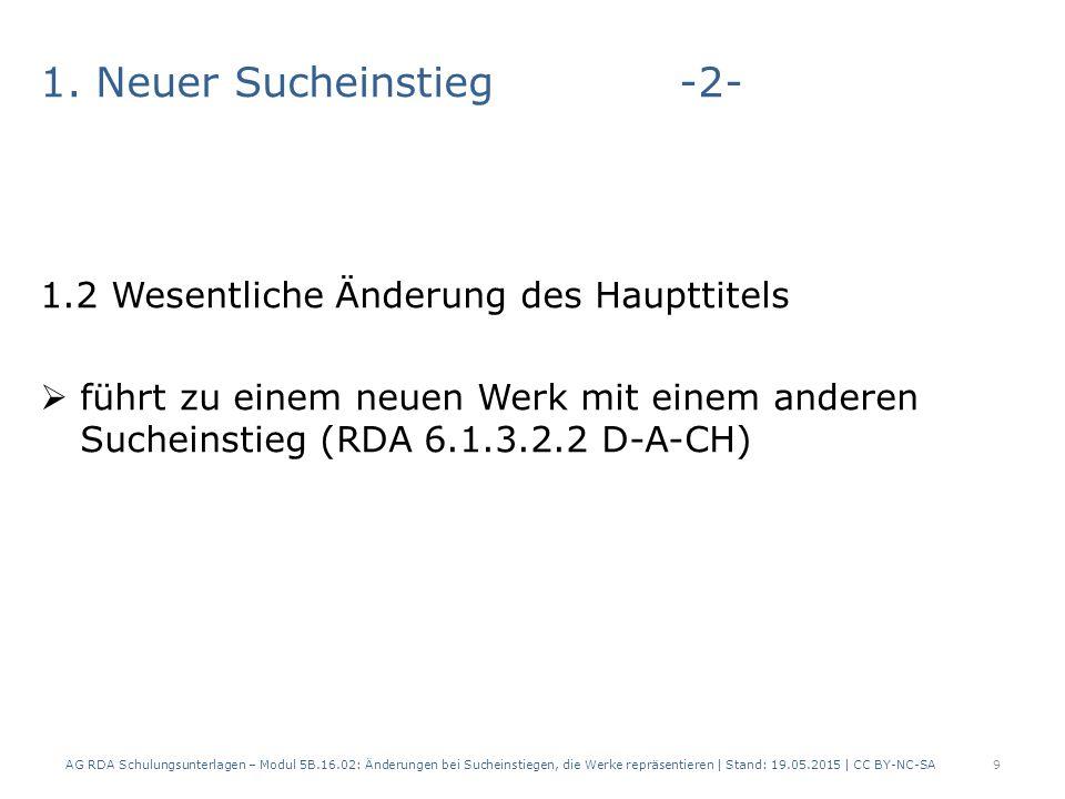 1. Neuer Sucheinstieg-2- 1.2 Wesentliche Änderung des Haupttitels  führt zu einem neuen Werk mit einem anderen Sucheinstieg (RDA 6.1.3.2.2 D-A-CH) AG