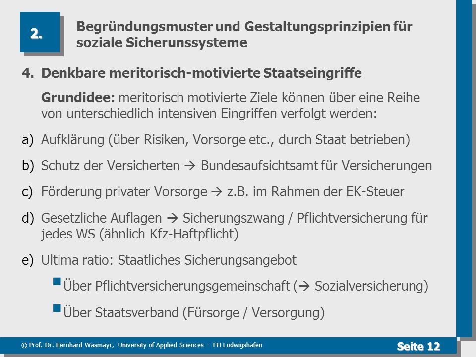 © Prof. Dr. Bernhard Wasmayr, University of Applied Sciences - FH Ludwigshafen Seite 12 Begründungsmuster und Gestaltungsprinzipien für soziale Sicher