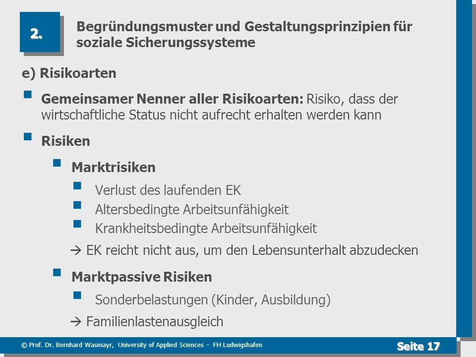 © Prof. Dr. Bernhard Wasmayr, University of Applied Sciences - FH Ludwigshafen Seite 17 Begründungsmuster und Gestaltungsprinzipien für soziale Sicher