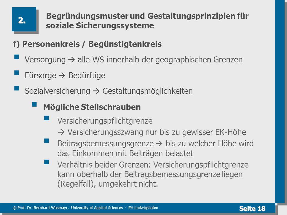 © Prof. Dr. Bernhard Wasmayr, University of Applied Sciences - FH Ludwigshafen Seite 18 Begründungsmuster und Gestaltungsprinzipien für soziale Sicher