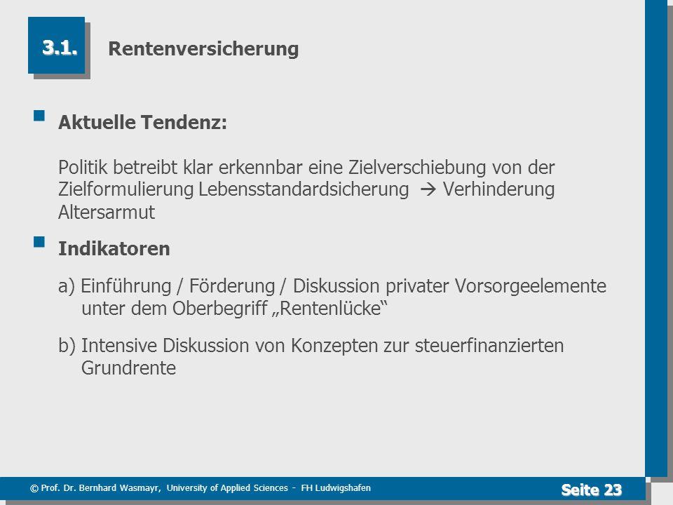 © Prof. Dr. Bernhard Wasmayr, University of Applied Sciences - FH Ludwigshafen Seite 23 Rentenversicherung  Aktuelle Tendenz: Politik betreibt klar e