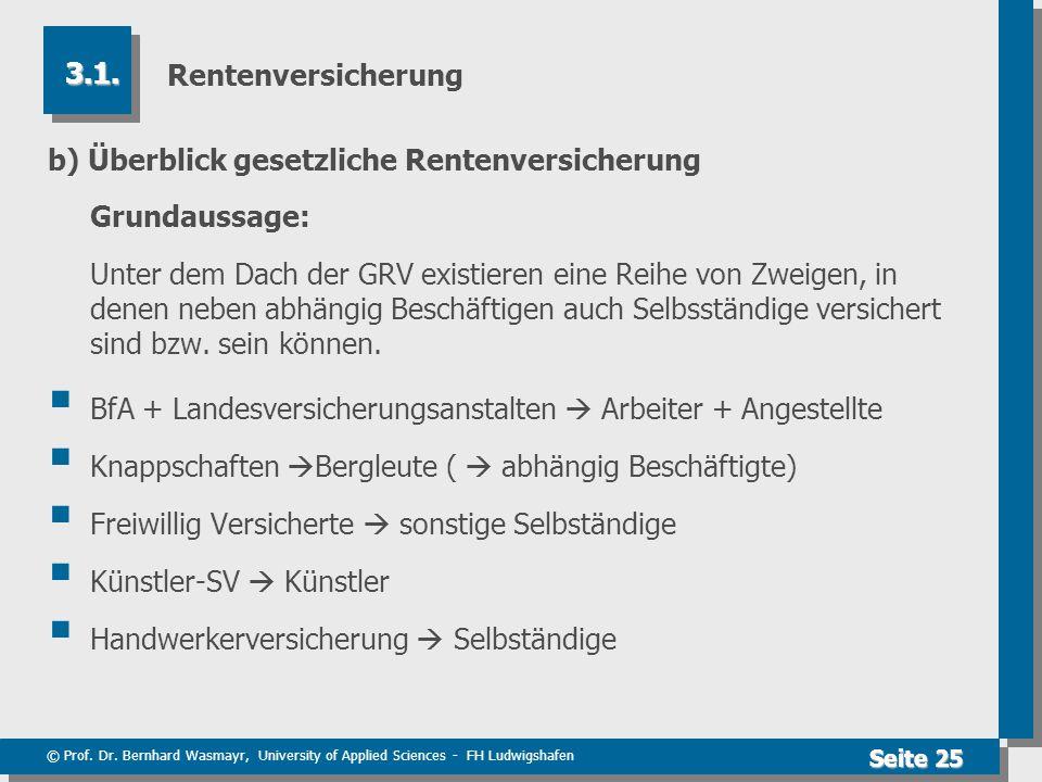 © Prof. Dr. Bernhard Wasmayr, University of Applied Sciences - FH Ludwigshafen Seite 25 Rentenversicherung b) Überblick gesetzliche Rentenversicherung