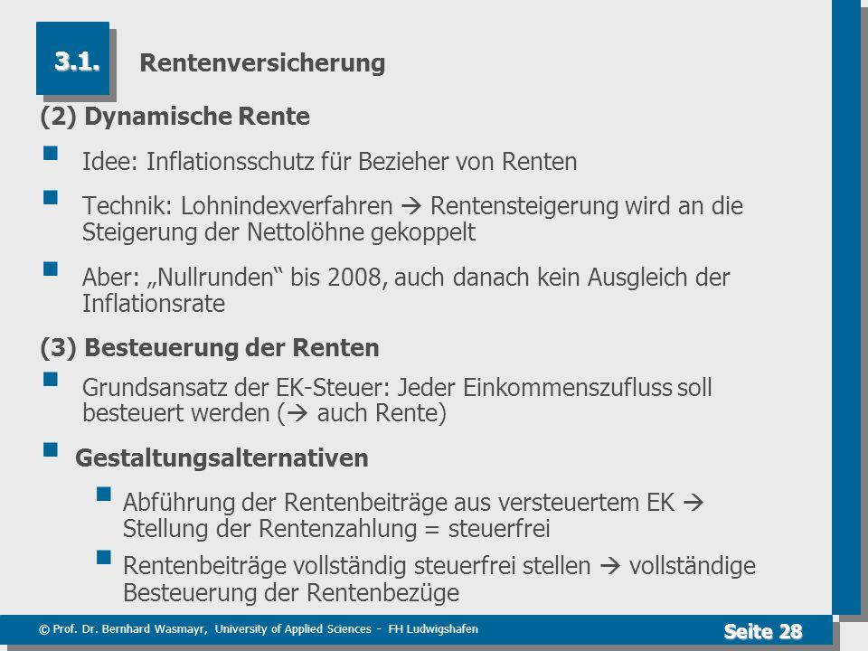 © Prof. Dr. Bernhard Wasmayr, University of Applied Sciences - FH Ludwigshafen Seite 28 Rentenversicherung (2) Dynamische Rente  Idee: Inflationsschu