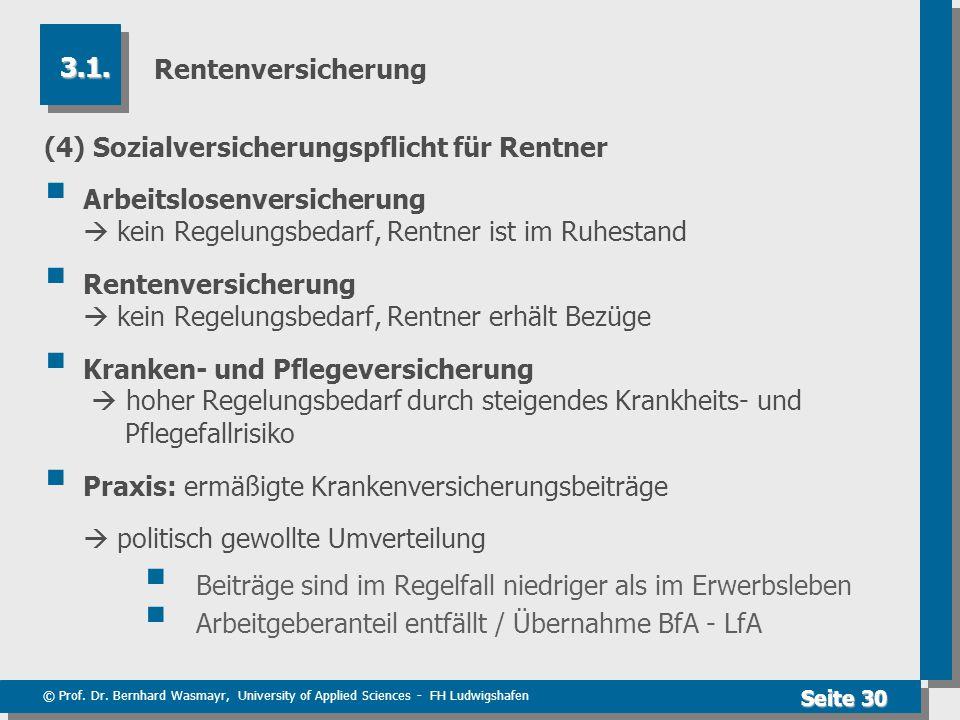 © Prof. Dr. Bernhard Wasmayr, University of Applied Sciences - FH Ludwigshafen Seite 30 Rentenversicherung (4) Sozialversicherungspflicht für Rentner