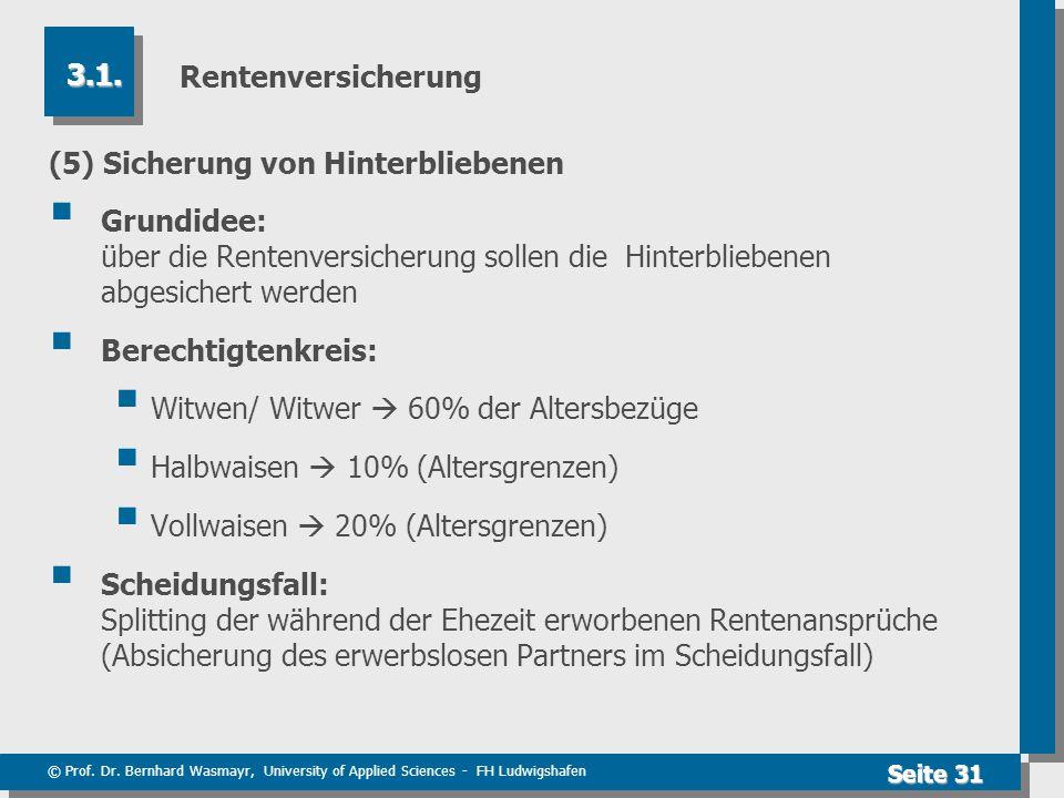 © Prof. Dr. Bernhard Wasmayr, University of Applied Sciences - FH Ludwigshafen Seite 31 Rentenversicherung (5) Sicherung von Hinterbliebenen  Grundid