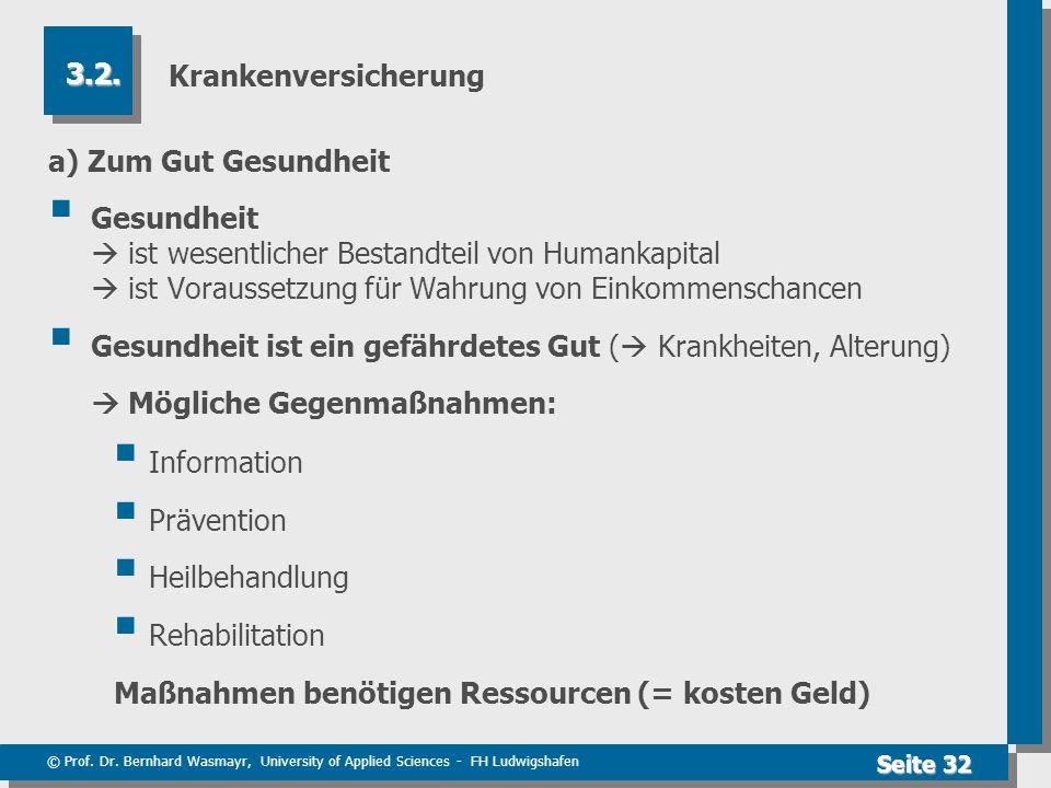 © Prof. Dr. Bernhard Wasmayr, University of Applied Sciences - FH Ludwigshafen Seite 32 Krankenversicherung a) Zum Gut Gesundheit  Gesundheit  ist w