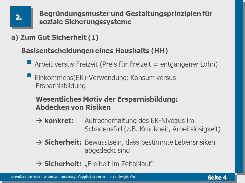 © Prof. Dr. Bernhard Wasmayr, University of Applied Sciences - FH Ludwigshafen Seite 4 Begründungsmuster und Gestaltungsprinzipien für soziale Sicheru