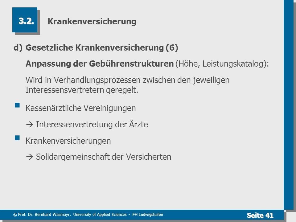 © Prof. Dr. Bernhard Wasmayr, University of Applied Sciences - FH Ludwigshafen Seite 41 Krankenversicherung d) Gesetzliche Krankenversicherung (6) Anp