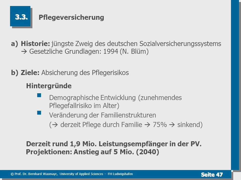 © Prof. Dr. Bernhard Wasmayr, University of Applied Sciences - FH Ludwigshafen Seite 47 Pflegeversicherung a)Historie: jüngste Zweig des deutschen Soz