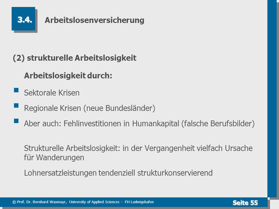 © Prof. Dr. Bernhard Wasmayr, University of Applied Sciences - FH Ludwigshafen Seite 55 Arbeitslosenversicherung (2) strukturelle Arbeitslosigkeit Arb
