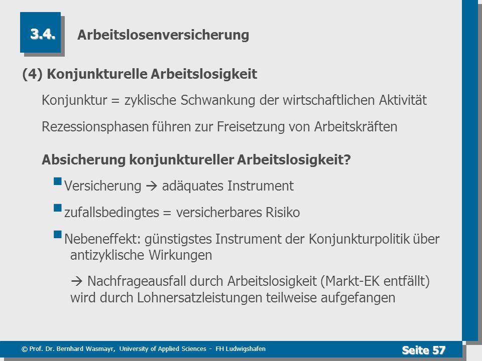 © Prof. Dr. Bernhard Wasmayr, University of Applied Sciences - FH Ludwigshafen Seite 57 Arbeitslosenversicherung (4) Konjunkturelle Arbeitslosigkeit K