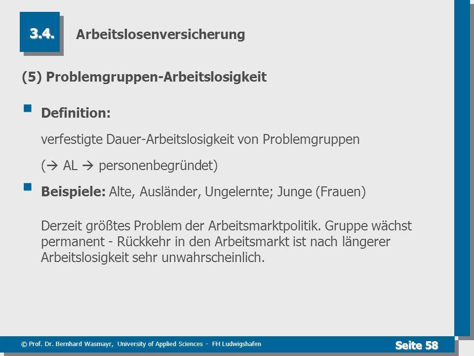© Prof. Dr. Bernhard Wasmayr, University of Applied Sciences - FH Ludwigshafen Seite 58 Arbeitslosenversicherung (5) Problemgruppen-Arbeitslosigkeit 