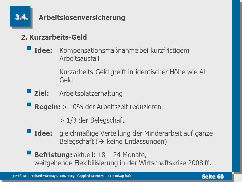 © Prof. Dr. Bernhard Wasmayr, University of Applied Sciences - FH Ludwigshafen Seite 60 Arbeitslosenversicherung 2. Kurzarbeits-Geld  Idee: Kompensat