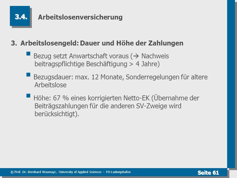 © Prof. Dr. Bernhard Wasmayr, University of Applied Sciences - FH Ludwigshafen Seite 61 Arbeitslosenversicherung 3.Arbeitslosengeld: Dauer und Höhe de