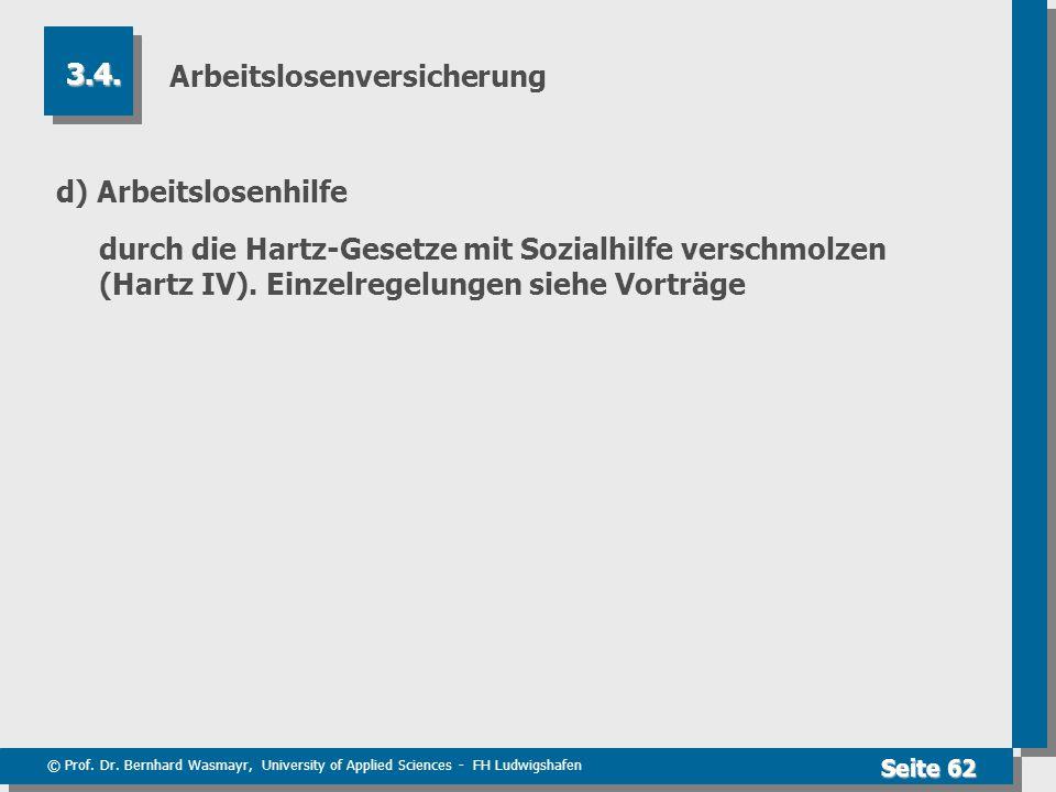 © Prof. Dr. Bernhard Wasmayr, University of Applied Sciences - FH Ludwigshafen Seite 62 Arbeitslosenversicherung d) Arbeitslosenhilfe durch die Hartz-
