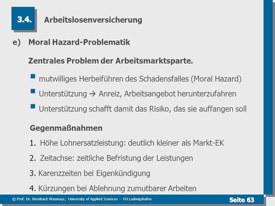 © Prof. Dr. Bernhard Wasmayr, University of Applied Sciences - FH Ludwigshafen Seite 63 Arbeitslosenversicherung e) Moral Hazard-Problematik Zentrales