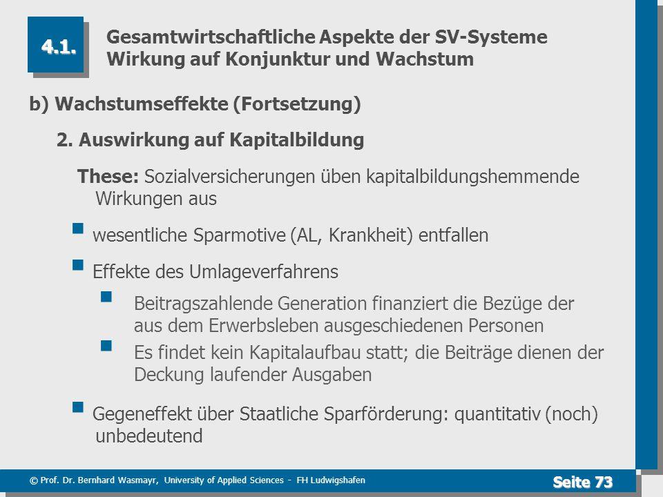 © Prof. Dr. Bernhard Wasmayr, University of Applied Sciences - FH Ludwigshafen Seite 73 Gesamtwirtschaftliche Aspekte der SV-Systeme Wirkung auf Konju