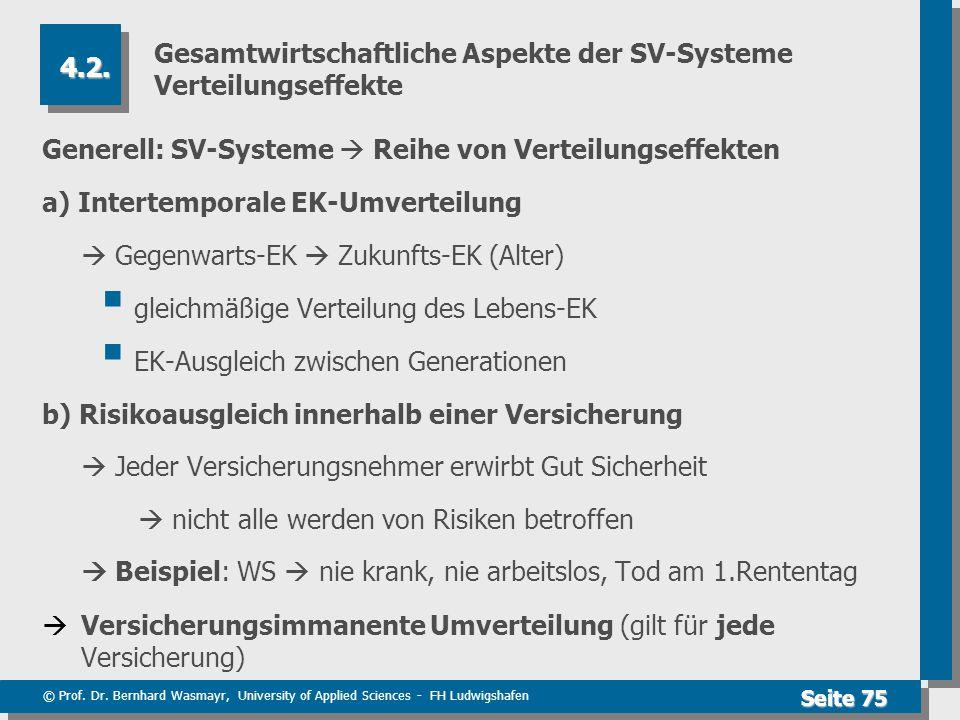 © Prof. Dr. Bernhard Wasmayr, University of Applied Sciences - FH Ludwigshafen Seite 75 Gesamtwirtschaftliche Aspekte der SV-Systeme Verteilungseffekt