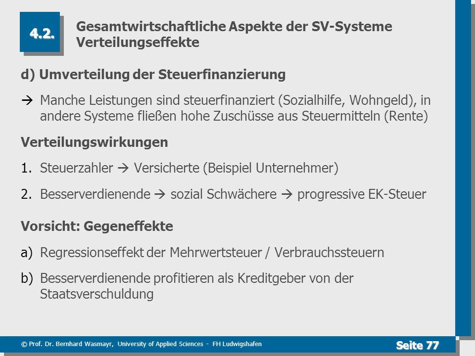 © Prof. Dr. Bernhard Wasmayr, University of Applied Sciences - FH Ludwigshafen Seite 77 Gesamtwirtschaftliche Aspekte der SV-Systeme Verteilungseffekt